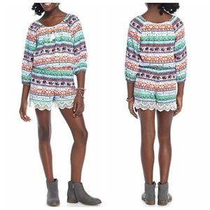 My Michelle Shorts Romper Boho Crochet 3/4 Slv 14